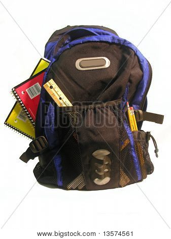 A photo of a backpack loaded with school supplies