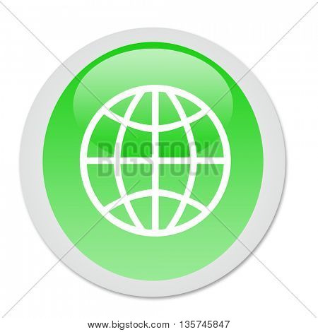 Earth globe icon on green button