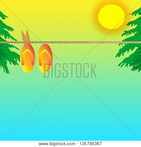 Image of  colorful flip flops hanging on a clothes line isolated on a blue sky background with sun and palm tree