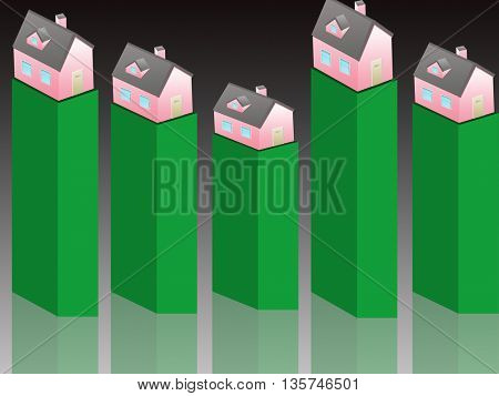 isometric house-real estate values, bar graph with house