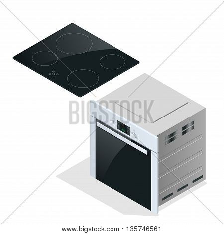 Hand holding a saucepan in modern kitchen with induction stove. Flat 3d vector cillustration