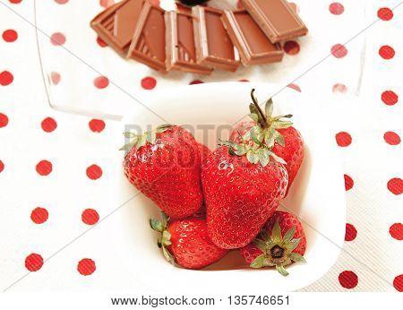 Beautiful strawberries with chocolate