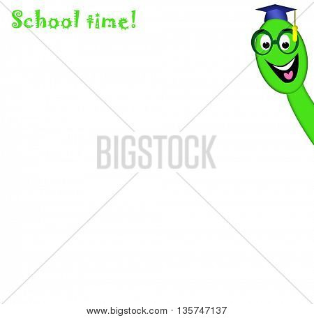 Smiling college worm and words