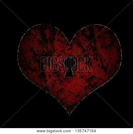 Grunge heart lock