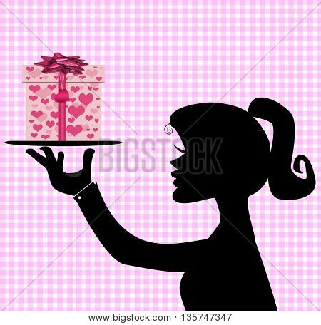 icon with woman silhouette hold  gift box