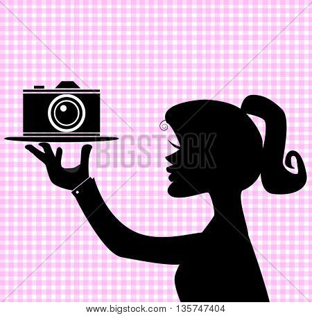 woman silhouettes with camera