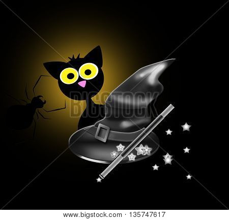black cat,moon,witches' hat,spider,halloween concept