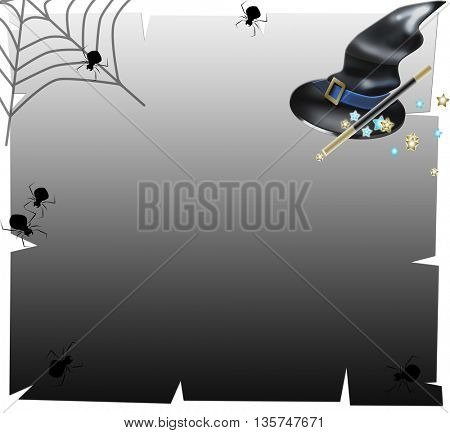 Realistic witch hat with spider- hallowwen concept and spider web
