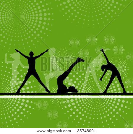 silhouettes of girl stretching and exercise