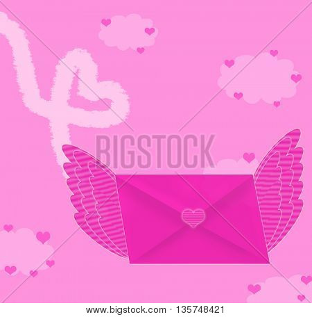flying love envelope