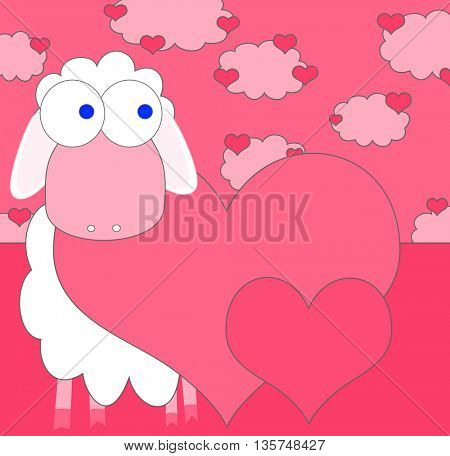 Love background with hearts and cute sheep