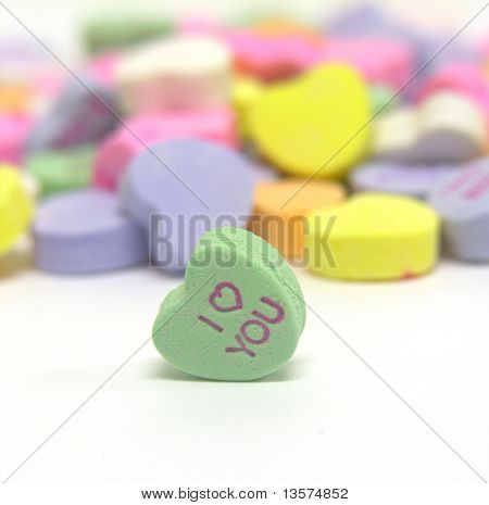 A photo of a Valentine heart candy