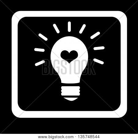 light bulb with heart shape in it