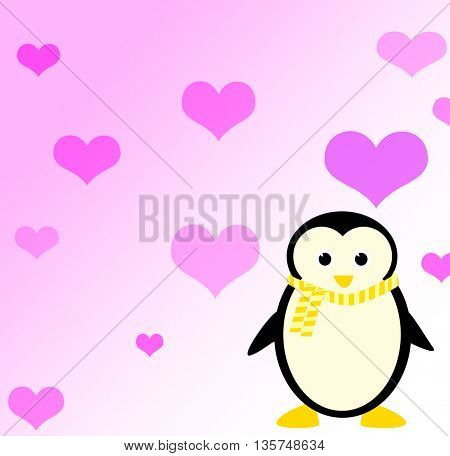 valentine card with penguin