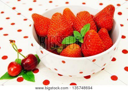 Beautiful strawberries , and cherry
