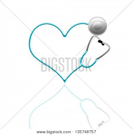 stethoscope in shape of heart, isolated on white with reflection