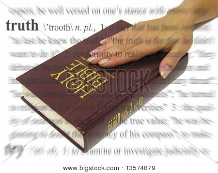 A photo of a woman swearing on the bible, a truth theme