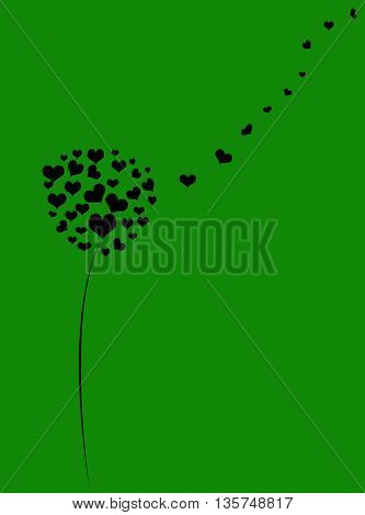 Love background with hearts tree and place for text
