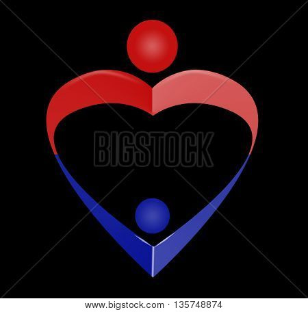 family, love symbol, hug  stylized in simple lines in heart shape, mothers day,