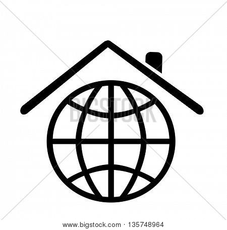 planet place to live on concept, globe icon as house shape