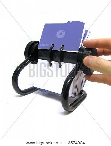 A photo of a rolodex
