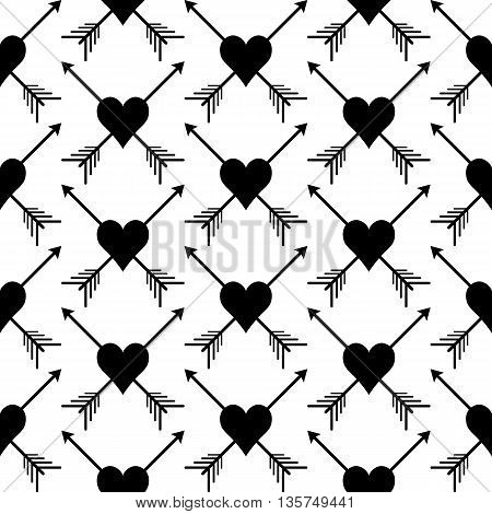 Black and white seamless pattern with print of hearts and arrows. Monochrome vector illustration. Simple easy editable repetition wrapping.