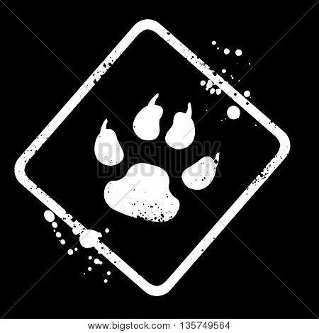 animal footprint sign