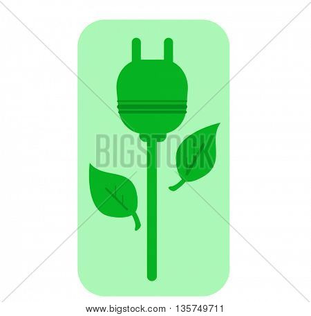 ecology simbol-green socket in a shape of flower