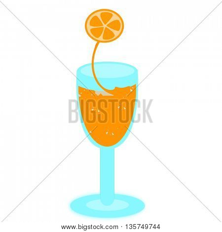 Orange juice in a glass with straw and slice