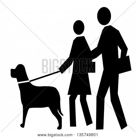 Black figure icon walking a dog