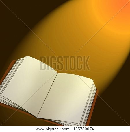 Magic book with lights and stars lighting it up