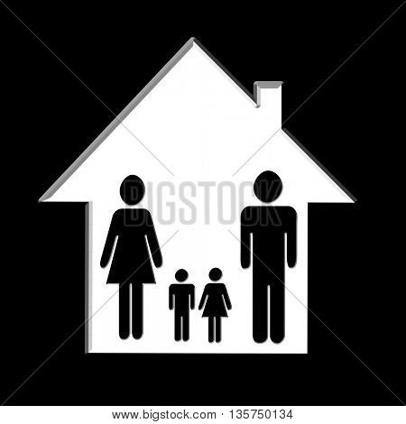 Silhouette family icon and house. Conceptual