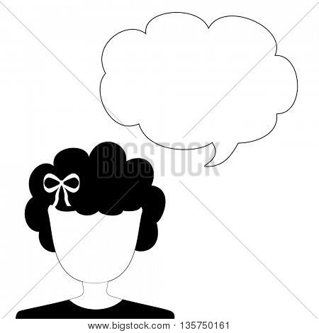 Woman announcement with speech bubble icon