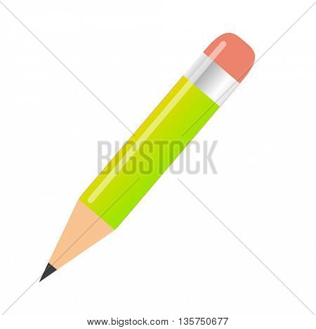 Wooden sharp pencil isolated on white background