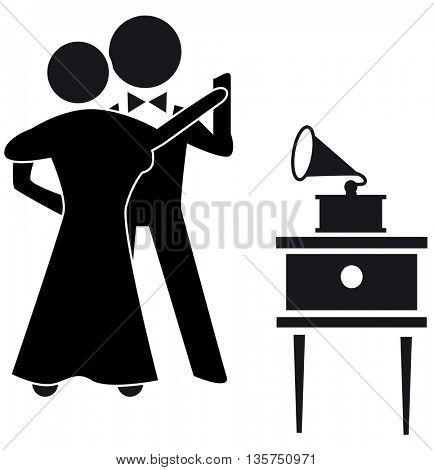 Classic dancing pair silhouette isolated with gramophone