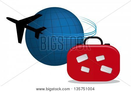 airplane traveling around the world and suitcase