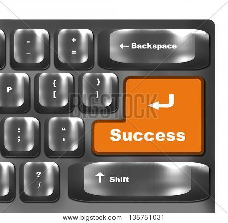 Computer keyboard - orange key Success
