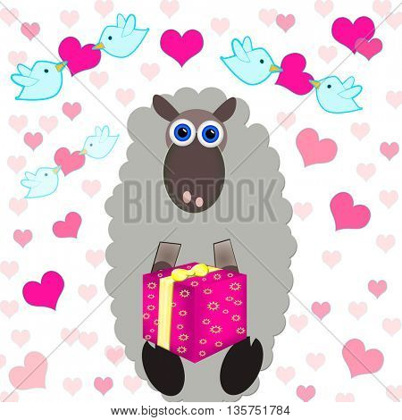 sheep holding a present,in the background there are birds holding a hearts-love and warm holiday atmosphere