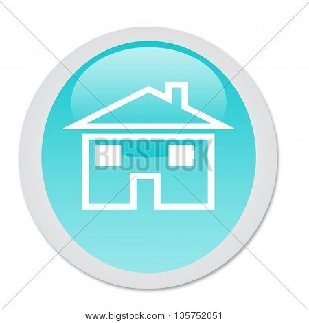 Glossy green home button with house symbol