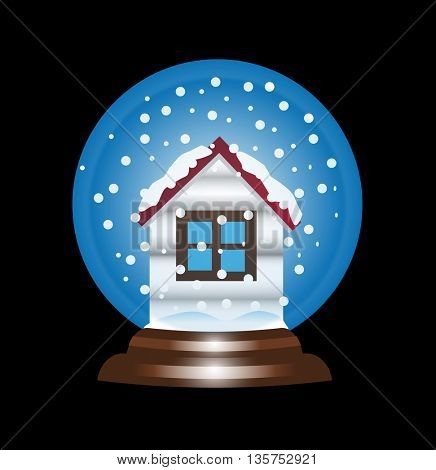 Snow globe snowball icon, with house shape and snowflakes