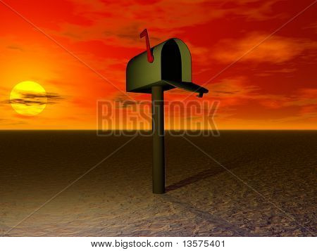 A rendering of an abstract mailbox against the sunset