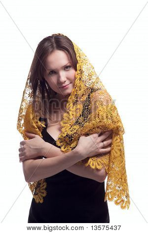 Beauty young woman in yellow lace tippet