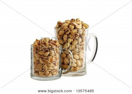 Pistachios And Shells In Beer Mugs