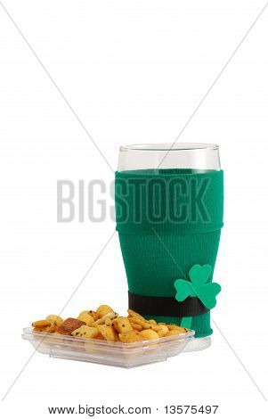 St Patrick Beer Glass  With Snack