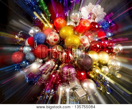 Merry christmas and happy new year card with colorful decoration