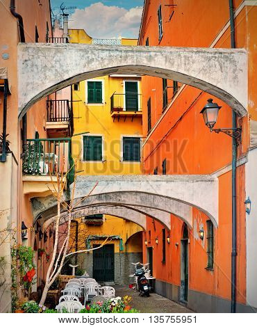 Classic Italian colorful court in Celle Ligure Italy