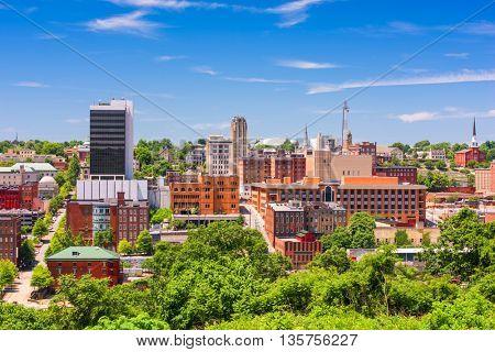 Lynchburg, Virginia, USA downtown city skyline in the day.