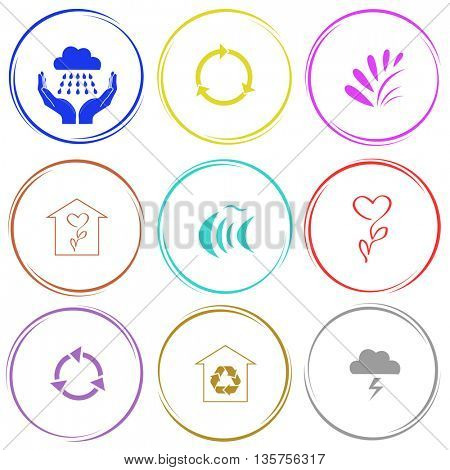 9 images: weather in hands, recycle symbol, plant, flower shop, fish, protection of nature, thunderstorm. Nature set. Internet button. Vector icons.