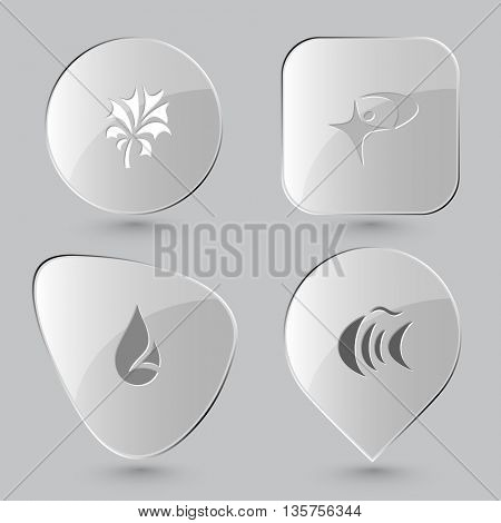 4 images: abstract plant, little man, drop, fish. Abstract set. Glass buttons on gray background. Vector icons.
