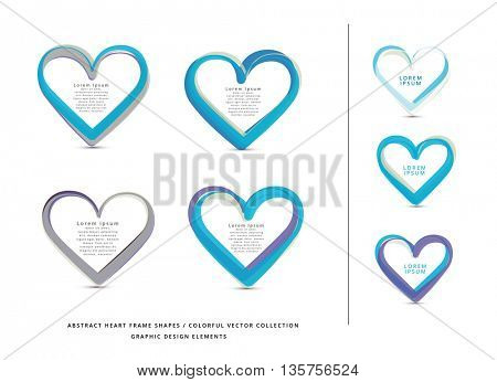 VECTOR ABSTRACT HEART FRAME ELEMENTS COLLECTION , COOL COLORS